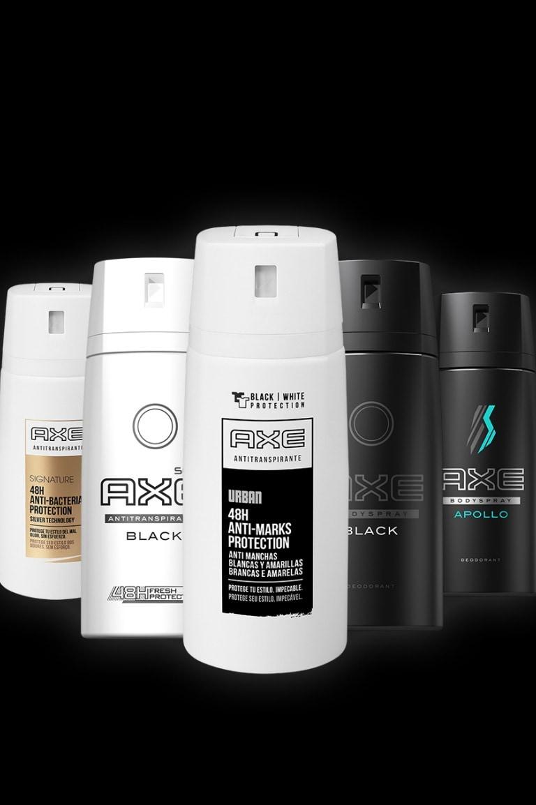 Uma variedade de produtos Axe