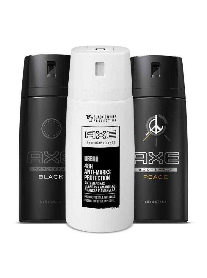 Uma seleção de antitranspirantes e desodorantes Axe.